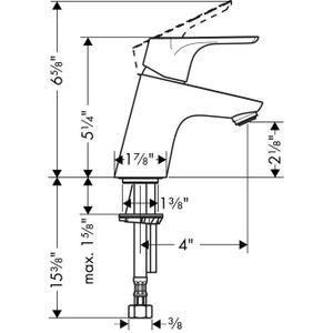 Chrome Single-Hole Faucet 70, 1.2 GPM