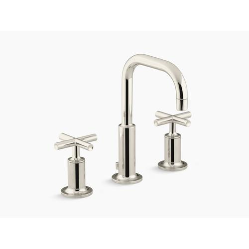 Vibrant Polished Nickel Widespread Bathroom Sink Faucet With Low Cross Handles and Low Gooseneck Spout