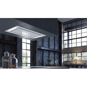 "36"" X 19"" ceiling mount white glass island hood"