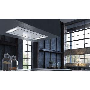 """Faber36"""" X 19"""" ceiling mount white glass island hood"""