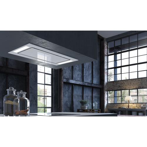 """Faber - 36"""" X 19"""" ceiling mount white glass island hood"""