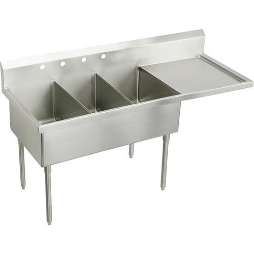"""Product Image - Elkay Weldbilt Stainless Steel 79-1/2"""" x 27-1/2"""" x 14"""" Floor Mount, Triple Compartment Scullery Sink with Drainboard"""