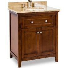 "30"" Chocolate Brown vanity with Satin Nickel hardware, Shaker style, and preassembled Emperador Light Quartz top and oval bowl"