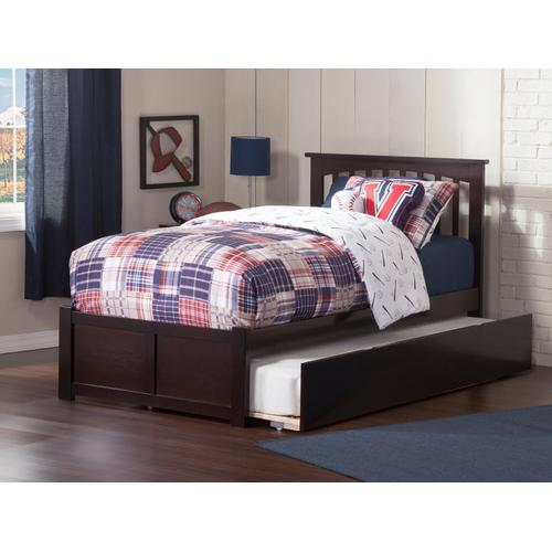 Mission Twin Flat Panel Foot Board with Urban Trundle Espresso