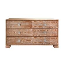 Six Drawer Chest With Nickel and Acrylic Hardware In Dark Cerused Oak
