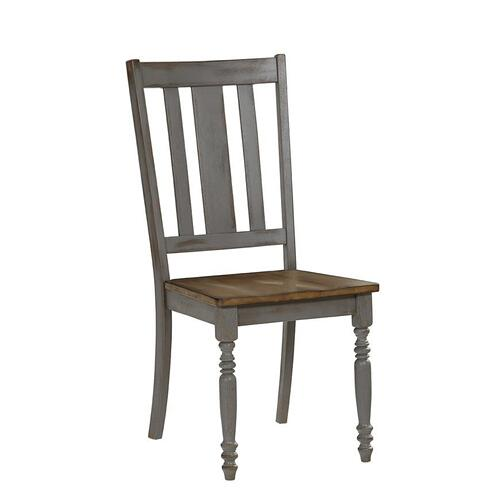 Dining Chairs, Set of 2 - Oak/Brushed Gray Finish