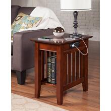 See Details - Mission Chair Side Table with Charger Walnut