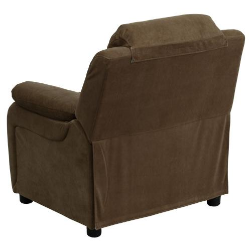Alamont Furniture - Deluxe Padded Contemporary Brown Microfiber Kids Recliner with Storage Arms