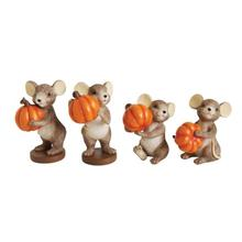 """See Details - 3-1/4""""H Resin Mouse Holding Pumpkin, 4 Styles"""