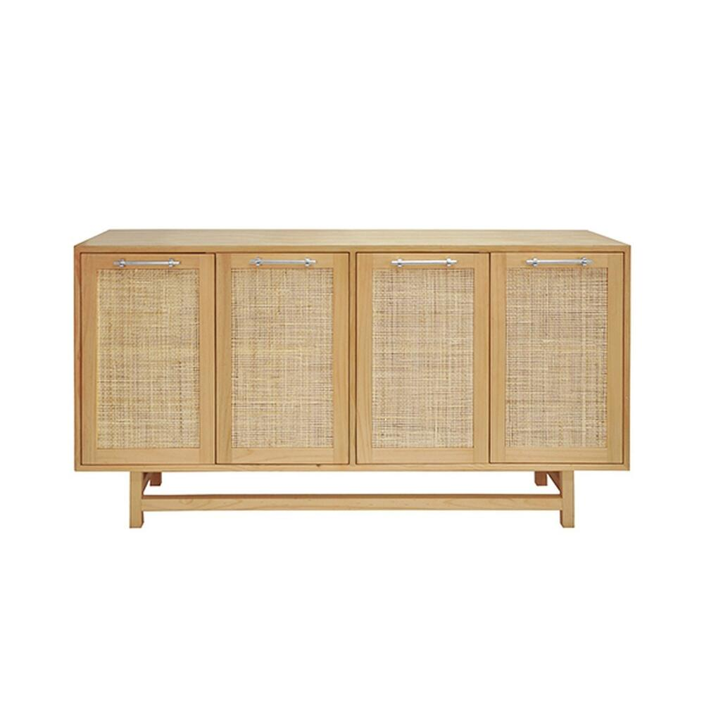 On Trend for Good Reason! Our Four Door Macon Cabinet Offers Beautiful and Neutral Storage for Your Mid Century, Farmhouse, or Scandinavian Inspired Interiors. Natural Cane Door Fronts Are Expertly Paired With A Finish Palette of Honey Finish Pine and Nickel Hardware. an Extraordinary Accent Piece for Any Room.
