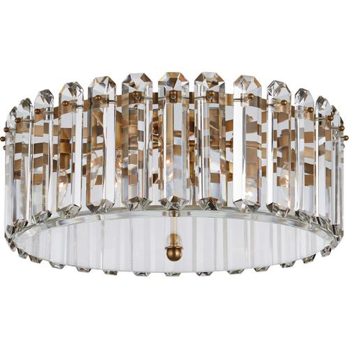 AERIN Bonnington 5 Light 25 inch Hand-Rubbed Antique Brass Flush Mount Ceiling Light, Large