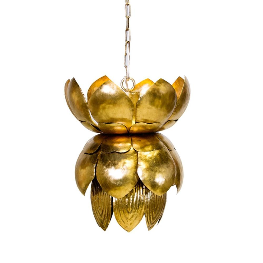 Bring A Touch of Natural Beauty To Your Interiors With Our Blossom Lotus Pendant Fixture. Two Dozen Shaped Tin Petals In Hand Finished Gold Leaf Reflect A Soft, Sumptuous Light. Includes A 3' Matching Chain and Canopy.