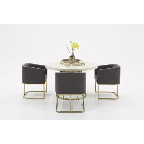 VIG Furniture - Modrest Harper Modern White Concrete & Antique Brass Round Dining Table