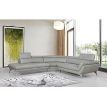 See Details - Divani Casa Graphite - Modern Grey Leather Left Facing Sectional Sofa