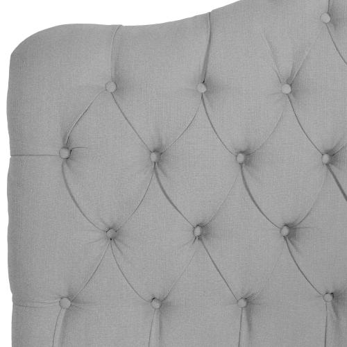 Fashion Bed Group - Martinique Button-Tuft Upholstered Headboard with Adjustable Height, Putty Finish, King / California King