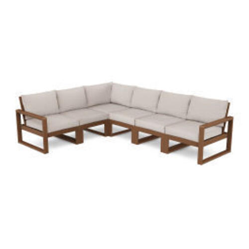 Polywood Furnishings - EDGE 6-Piece Modular Deep Seating Set in Teak / Dune Burlap