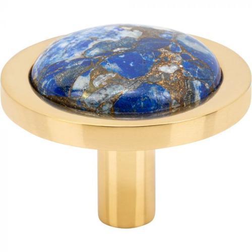 Vesta Fine Hardware - FireSky Mohave Lapis Knob 1 9/16 Inch Polished Brass Base Polished Brass