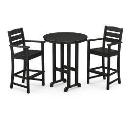 Polywood Furnishings - Lakeside 3-Piece Round Bar Arm Chair Set in Black
