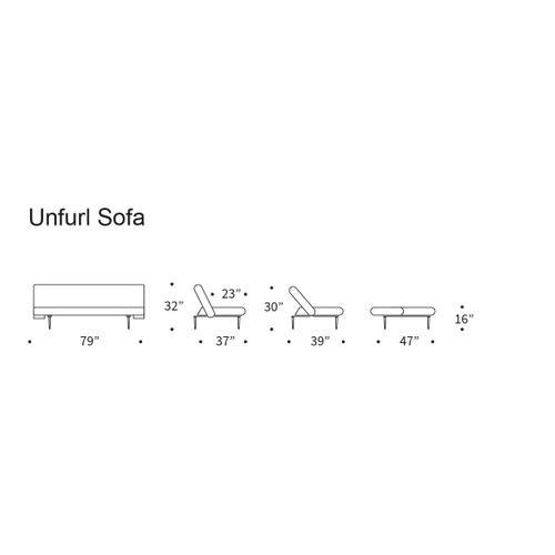 """UNFURL SOFA, DARK WOOD LEGS, 47""""X79"""""""