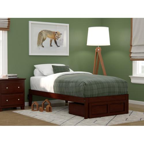 Atlantic Furniture - Colorado Twin Bed with Foot Drawer and USB Turbo Charger in Walnut