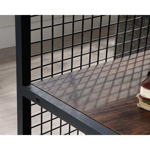 Modern Metal & Wood Side Table with Shelves
