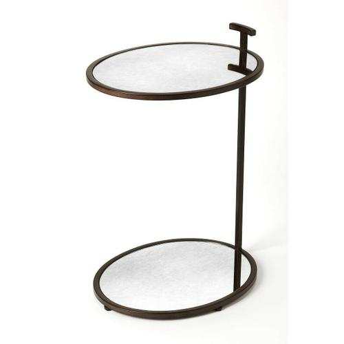 Clean, contemporary, and your sofa's new sidekick, this end table lends a helping hand holding lamps, morning cups of coffee, and more. Its ovular, minimalist design features a single Bronze finished iron side bar that connects the frame of the tabletop