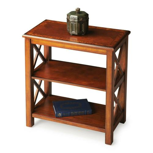 Crafted from poplar hardwood, elegant cherry veneers and wood products, then finished in a rich Olive Ash Burl, this bookcase is designed to enhance any d cor with style and function.