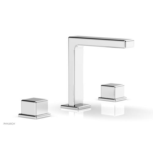 """MIX Widespread Faucet - Cube Handles 6-3/4"""" Height 290-04 - Polished Chrome"""
