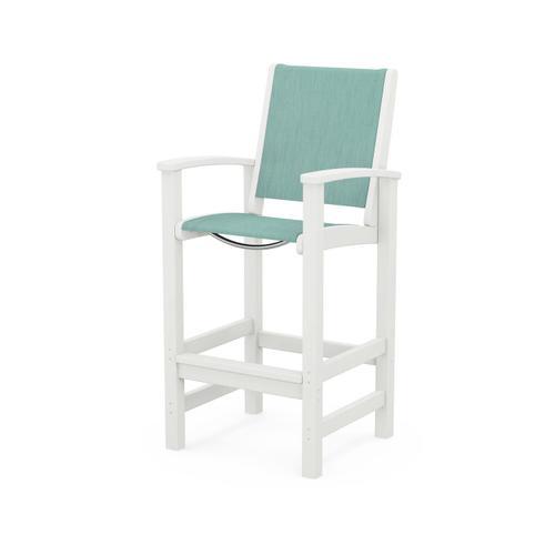 Polywood Furnishings - Coastal Bar Chair in Vintage White / Aquamarine Sling