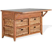 "Mossy Oak Kitchen Island Table with 13"" Folding Leaf"