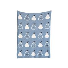 "40""L x 32""W Cotton Knit Baby Blanket w/ Pears, Blue"