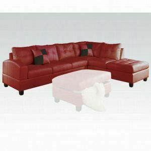 ACME Kiva Sectional Sofa w/2 Pillows (Reversible) - 51185_KIT - Red Bonded Leather Match