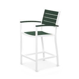 Polywood Furnishings - Eurou2122 Counter Arm Chair in Satin White / Green