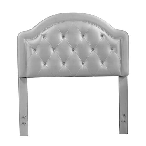 Hillsdale Furniture - Karley Complete Twin-size Headboard Set, Silver Faux Leather