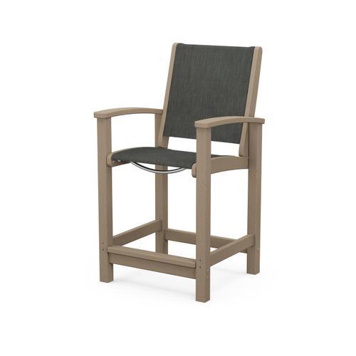 Polywood Furnishings - Coastal Counter Chair in Vintage Sahara / Ember Sling