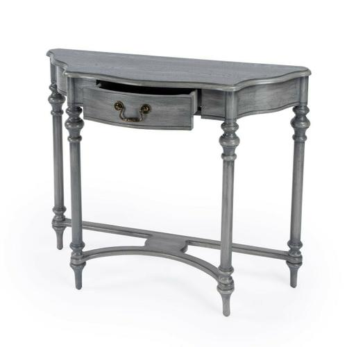 Butler Specialty Company - This classic console table features ballerina feet, elegant turned legs, and a graceful stretcher in harmonious contrast with the modified demilune tabletop. Crafted from select hardwood solids and wood products, it features a cherry veneer top in a rich Powder Grey finish. One storage drawer with antique brass finished hardware.