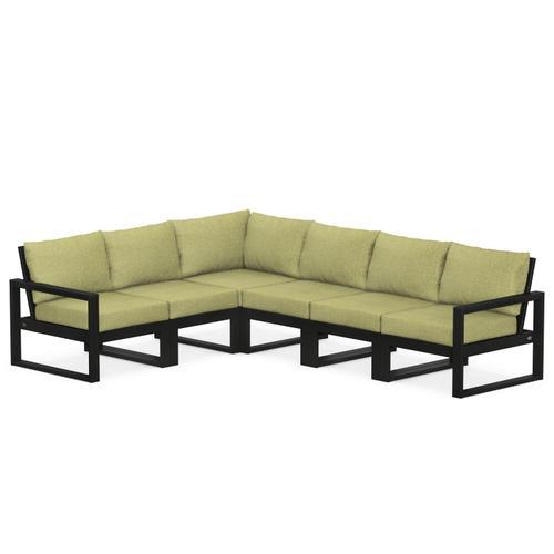 Polywood Furnishings - EDGE 6-Piece Modular Deep Seating Set in Black / Chartreuse Boucle