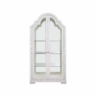 ACME Celestia Curio Cabinet - 62116 - Traditional - Wood (Solid Poplar), Wood Veneer (Oak), Poly-Resin, MDF, Ply, PB - Off White