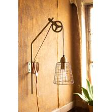 See Details - metal pulley wall lamp with wire shade