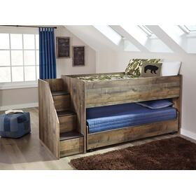 Trinell Twin Loft Bed W/Twin Caster Bed Brown