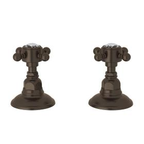 Set of Hot and Cold 3/4 Inch Sidevalves - Tuscan Brass with Crystal Cross Handle