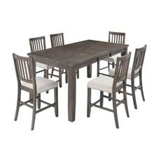Willow Creek Counter W/ 4 Slatback Stools & Counter Bench