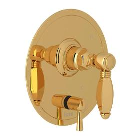 Pressure Balance Trim with Diverter - Italian Brass with Metal Lever Handle