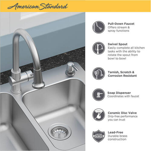 American Standard - Montvale 33 x 22 Kitchen Sink with Faucet - Stainless Steel
