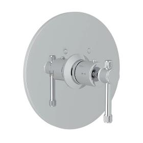 Campo Thermostatic Trim Plate without Volume Control - Polished Chrome with Industrial Metal Lever Handle