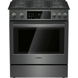 Bosch800 Series Gas Slide-in Range 30'' Black Stainless Steel HGI8046UC