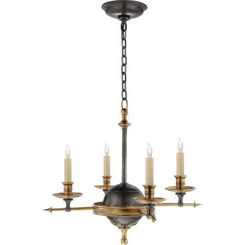 Visual Comfort - E. F. Chapman Leaf And Arrow 4 Light 16 inch Bronze with Antique Brass Accents Chandelier Ceiling Light in Bronze and Antique Burnished Brass