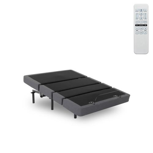 Plymouth Adjustable Bed Base with Full Bed Tilt and Sectioned Upholstery, Gray Finish, Twin XL