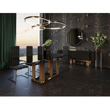 View Product - Modrest Token Modern Smoked Grey Glass & Rosegold Dining Table