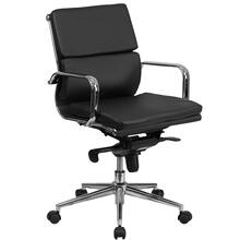 Mid-Back Black Leather Executive Swivel Chair with Synchro-Tilt Mechanism and Arms